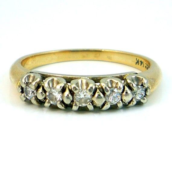 14K Vintage Retro 1940s Diamond Wedding Band Ring