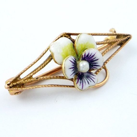 10K Antique Art Nouveau Enamel Pansy Seed Pearl Brooch Pin