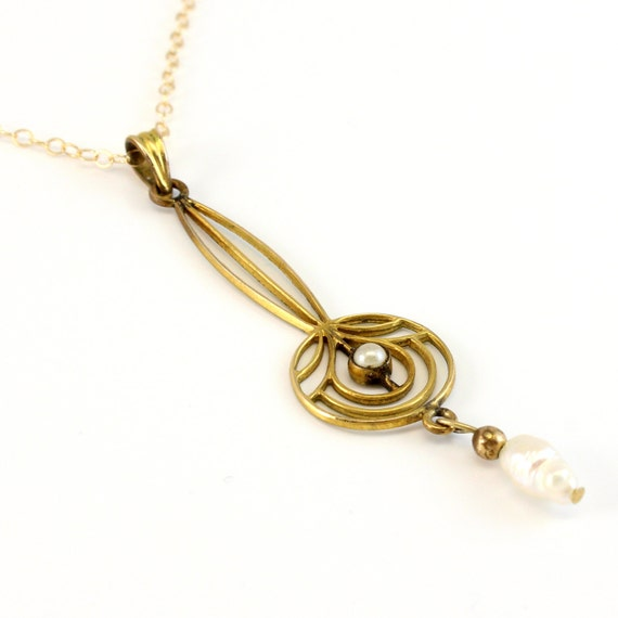 10K Antique Art Nouveau Baroque Pearl Lavaliere Necklace