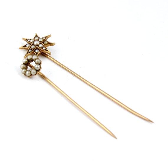 2 14K Art Nouveau Antique Gold Seed Pearl Circle Star Stick Pins