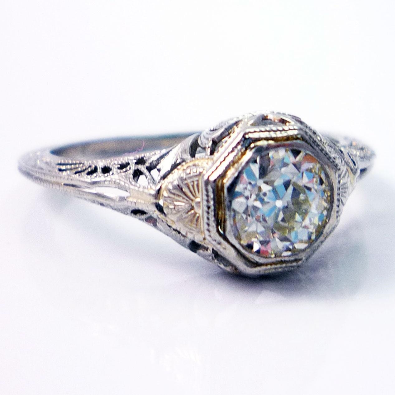 18k Antique Art Deco European Cut Diamond Filigree Engagement