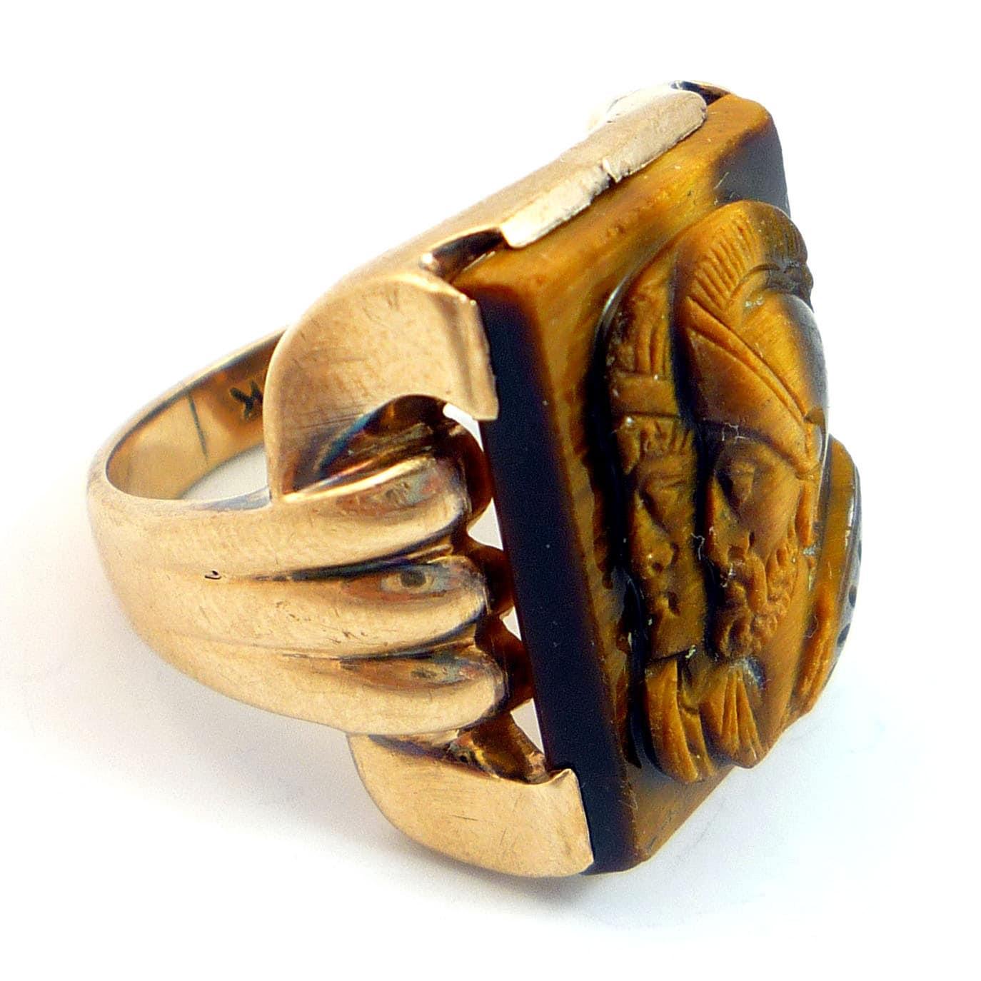 10k Antique Victorian Mens Gentlemens Tigers Eye Cameo Ring