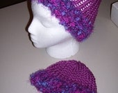 Mama and Baby Knit Hat Set -- Pink with Blue and Purple