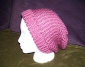 Pink Knit Hat - Large Adult - Vegan