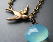 Bird in the Rain Necklace - Chalcedony