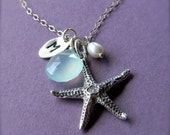 ON SALE Sea Star Necklace - Custom Initial Personalized - Ocean Themed Wedding, Bridesmaids Gifts, Letter Initial Charm