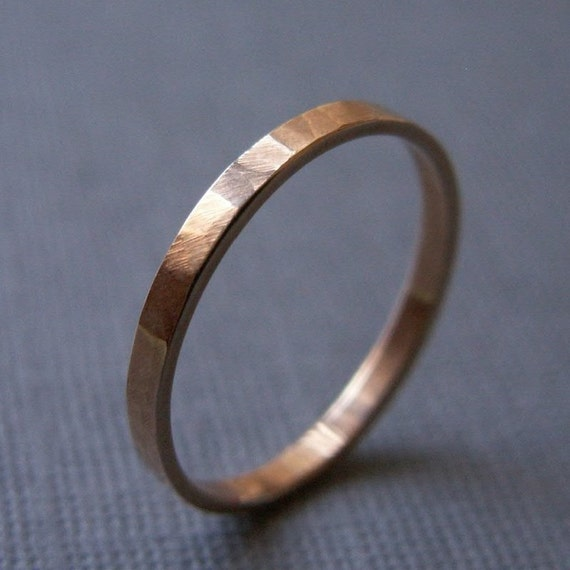 Items similar to Wedding Band 14K Yellow Gold Simple Elegant Ring with Hamm