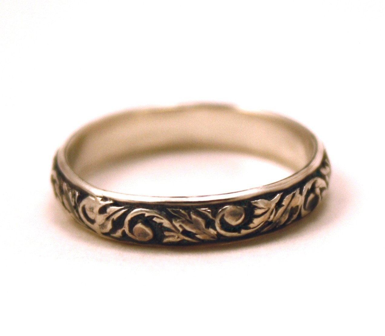 Antique Scroll Bands: Victorian Wedding Band Oxidized Scroll Sterling Silver FREE