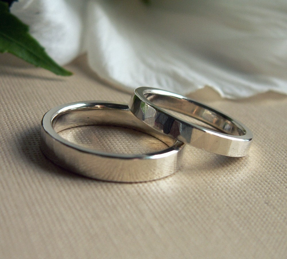Custom Silver Wedding Bands Rings Set By Studiometalsmith