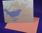 HELLO bird letterpress card set of 6