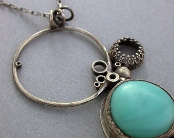 turquoise necklace oxidized silver repurposed glass statement necklace contemporary jewelry art jewelry