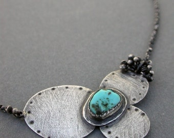 bloom petite in turquoise small charm everyday necklace petite necklace flower blue necklace metalsmith kinetic necklace jaime jo fisher