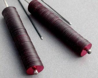 stacked column linear pendulum vintage sequin earrings dangle long simple modern burgundy dark red everyday jaime jo fisher
