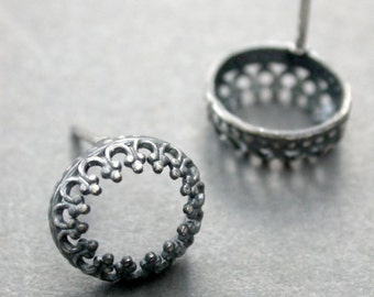 modern simple metalwork oxidized sterling intricate small button post earrings everyday timeless vintage