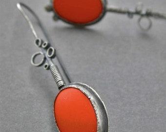 orange drop dangle earrings with bubble metal detail dangle earrings vintage glass long sleek sophisticated statement jewelry modern