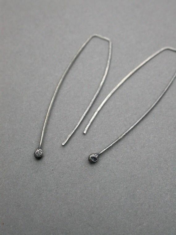 sterling silver oxidized linear silver drop earrings long dangle simple sleek everyday classic handmade jaime jo fisher art jewelry