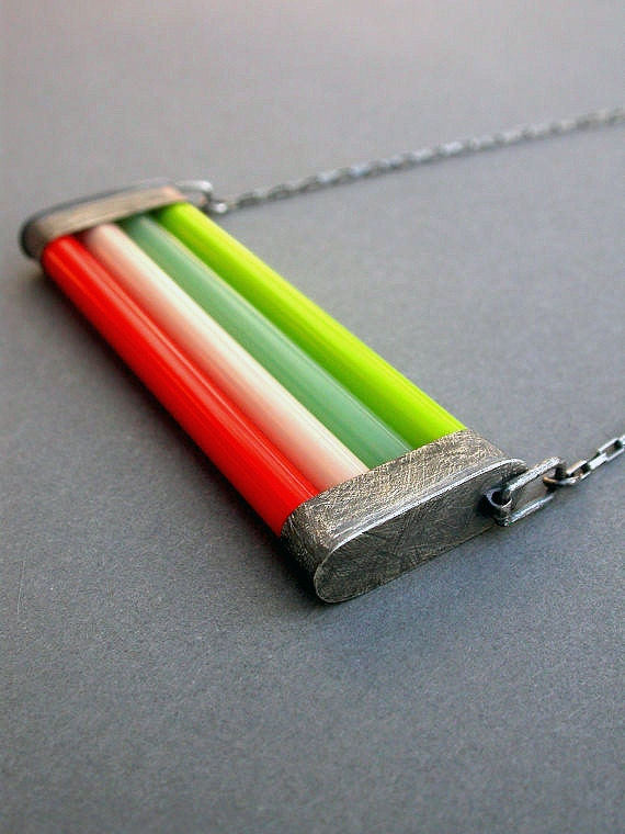 glass necklace bright neon color oxidized sterling geometric modern bold funky eclectic jewelry poppy red lime seafoam green