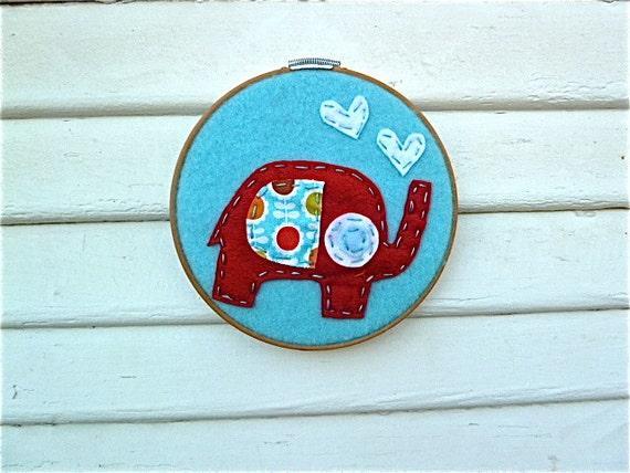 Elephant Embroidery Hoop Wall Art