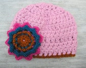 Beanie Hat Flower Pink Orange Handmade Thick Warm Wool