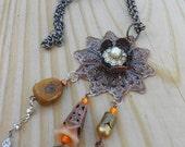 Upcycled Copper Tangerine Orange Necklace Vintage Components