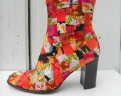 REDUCED Size 10 Ankle Boots Tangerine Patchwork Artist Funky Technicolor Upcycled DIY Altered Couture