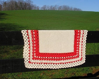 Red Baby Blanket Gender Neutral Baby Shower Gift Handmade Heirloom Baby Modern Afghan Vintage Style Crochet Baby Gift