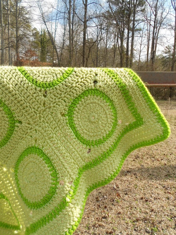 Green Baby Blanket Crochet Circles
