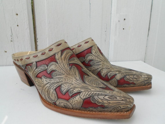 LUCCHESE Cowboy Mules Clogs Size 7 Charlie 1 Horse
