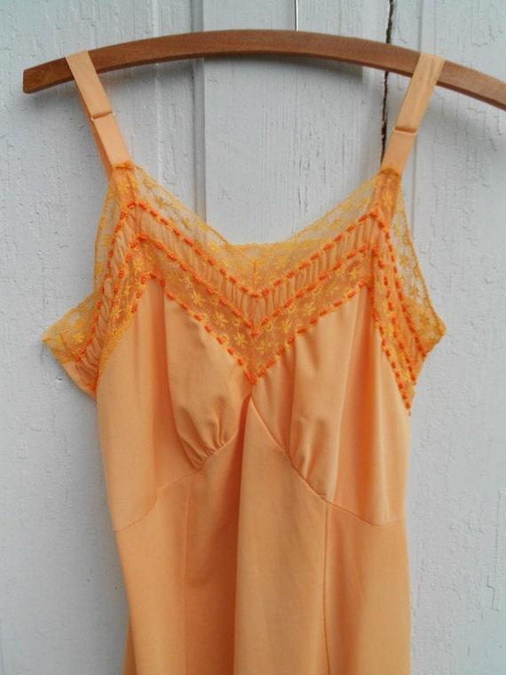 slip dress vintage tangerine orange beaded medium
