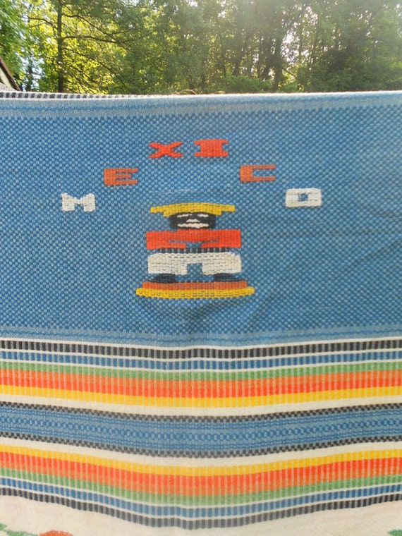1940s Mexican Hand Woven Blanket