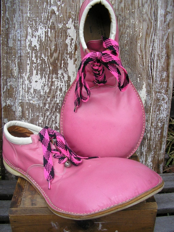 Vintage Clown Shoes Leather Size 9 Hot Pink by