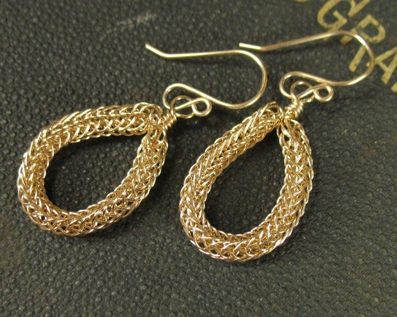 Gold Viking Knit Hoops, Handwoven Wire