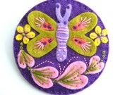 BUTTERFLY FELT BROOCH PIN WITH FREEFORM EMBROIDERY