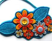 FLORA hairband / headband/ fascinator - felt with hand embroidery