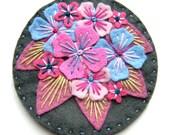 Hydrangea felt brooch with freeform embroidery