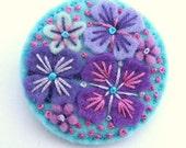WEDDING FAVORS, 10 'SUMMER Rain' Felt Brooch Pins With Freeform Embroidery, Free Shipping