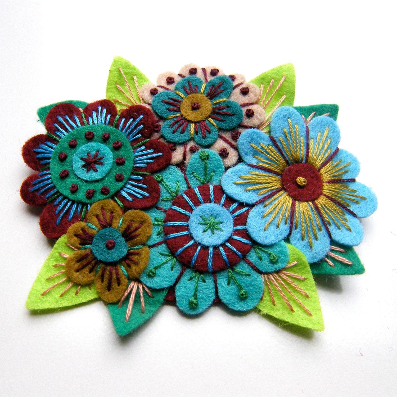 November sale vintage bouquet felt flower brooch with freeform