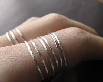 Skinny stacking ring - one sterling silver ring