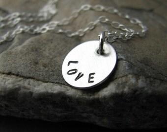 Love - handstamped necklace