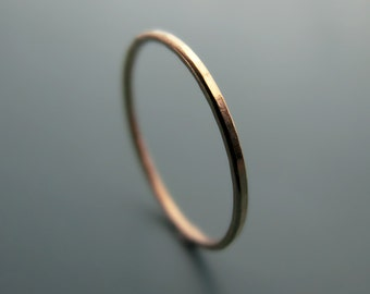 Recycled 14k rose gold ring - hammered stacking skinny ring