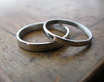 Palladium wedding band set (2mm and 3mm)