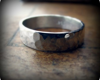 5mm hammered recycled sterling silver band