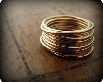 14K gold filled smooth skinny stacking rings - set of 12