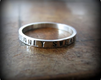 message ring - custom stamped recycled sterling silver ring