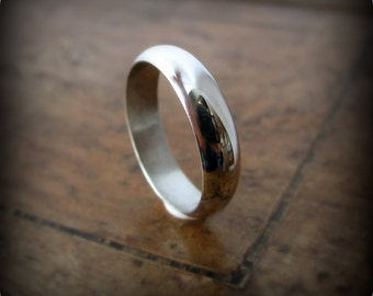Classic half round band - recycled sterling silver ring