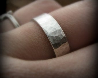 Recycled sterling silver ring - 5mm hammered band