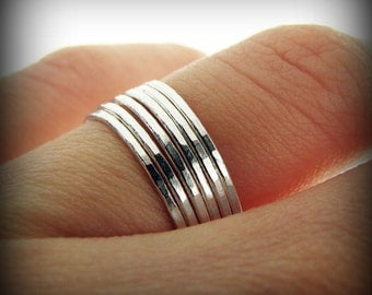 Stacking skinny rings - set of 6 sterling silver rings