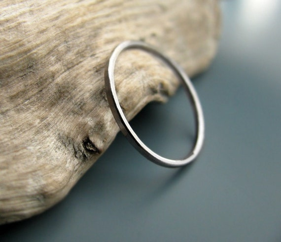 Palladium ring - hammered stacking skinny ring (sizes 7-9.75)