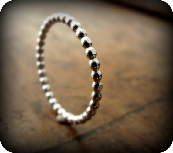 Dotted ring - sterling silver beaded ring