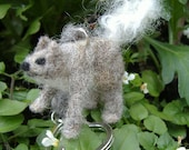 Needle Felted Wool Gray Squirrel Keychain
